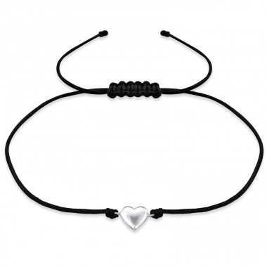 Heart - 925 Sterling Silver + Nylon Cord Bracelets with cords A4S31766