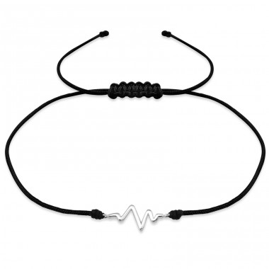 Heartbeat - 925 Sterling Silver + Nylon Cord Bracelets with cords A4S31767