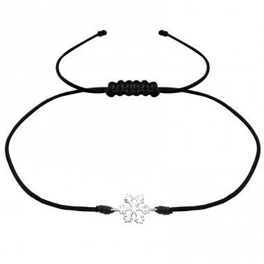 Snowflake - 925 Sterling Silver + Nylon Cord Bracelets with cords A4S31768