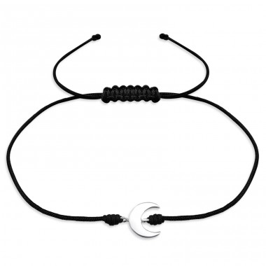 Moon - 925 Sterling Silver + Nylon Cord Bracelets With Cords A4S31773