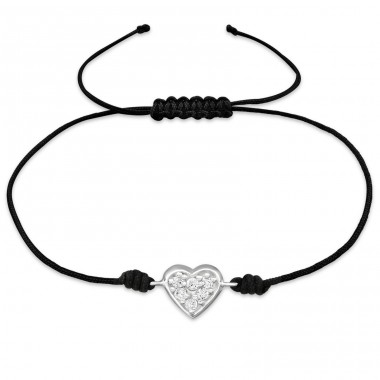 Heart - 925 Sterling Silver + Nylon Cord Bracelets with cords A4S31777