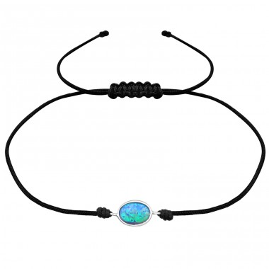 Oval Opal - 925 Sterling Silver + Nylon Cord Bracelets with cords A4S31780