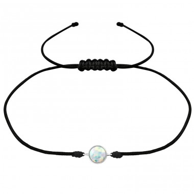 Round Opal - 925 Sterling Silver + Nylon Cord Bracelets with cords A4S31781