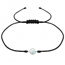 Round Opal - Nylon Cord + 925 Sterling Silver Bracelets with cords A4S31781