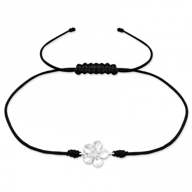 Flower - 925 Sterling Silver + Nylon Cord Bracelets with cords A4S31783