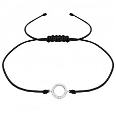 Circle - Nylon Cord + 925 Sterling Silver Bracelets with cords A4S31785