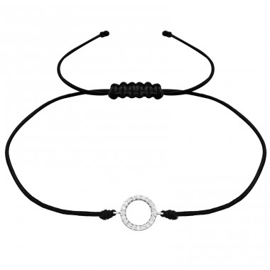 Circle - 925 Sterling Silver + Nylon Cord Bracelets with cords A4S31785