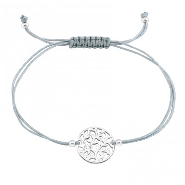 Tree Of Life - 925 Sterling Silver + Nylon Cord Bracelets with cords A4S33431