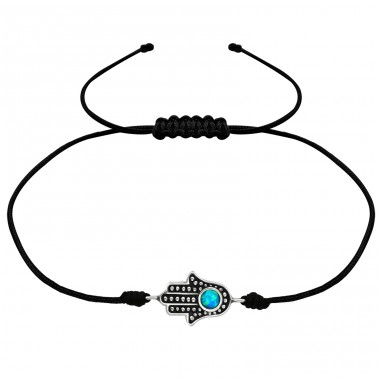 Hamsa - 925 Sterling Silver + Nylon Cord Bracelets with cords A4S34025