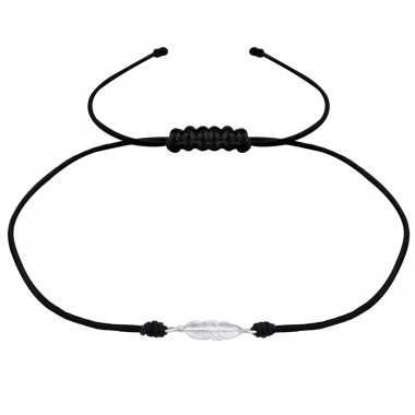 Feather - 925 Sterling Silver + Nylon Cord Bracelets with cords A4S34470