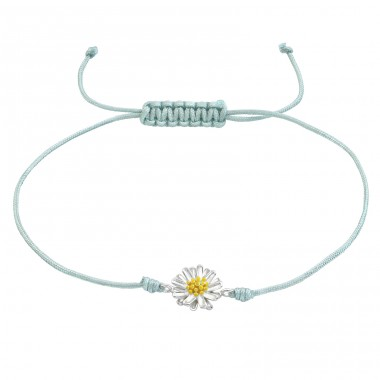 Flower - 925 Sterling Silver + Nylon Cord Bracelets with cords A4S38357