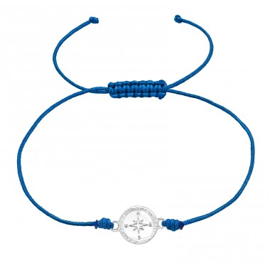 Compass - 925 Sterling Silver + Nylon Cord Bracelets with cords A4S38995