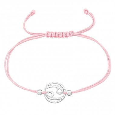 Cancer Zodiac Sign - 925 Sterling Silver + Nylon Cord Bracelets with cords A4S39002