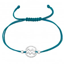 Aquarius Zodiac Sign - 925 Sterling Silver + Nylon Cord Bracelets with cords A4S39006