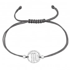 Scorpio Zodiac Sign - 925 Sterling Silver + Nylon Cord Bracelets with cords A4S39008