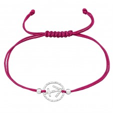 Sagittarius Zodiac Sign - 925 Sterling Silver + Nylon Cord Bracelets with cords A4S39010