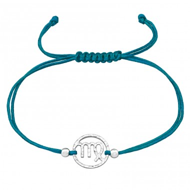 Virgo Zodiac Sign - Nylon Cord + 925 Sterling Silver Bracelets with cords A4S39668