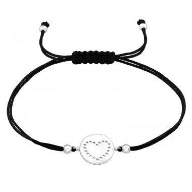 Heart - 925 Sterling Silver + Nylon Cord Bracelets with cords A4S42448