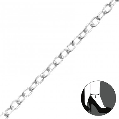 Plain - 925 Sterling Silver Anklets for foot A4S1998