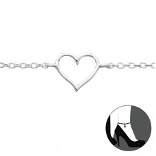 Heart - 925 Sterling Silver Anklets for foot A4S23955