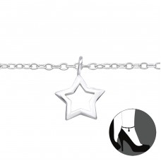 Star - 925 Sterling Silver Anklets for foot A4S23956