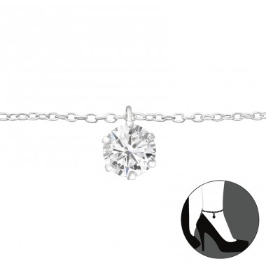 Round - 925 Sterling Silver Anklets for foot A4S27635