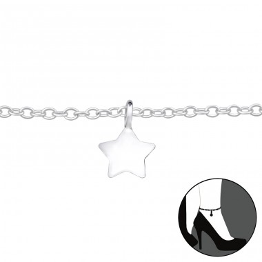 Star - 925 Sterling Silver Anklets for foot A4S27636