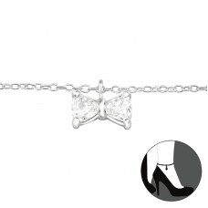 Bow - 925 Sterling Silver Anklets for foot A4S27647