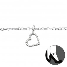 Heart - 925 Sterling Silver Anklets for foot A4S27652