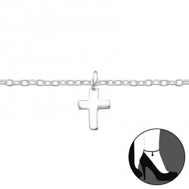 Cross - 925 Sterling Silver Anklets for foot A4S27660