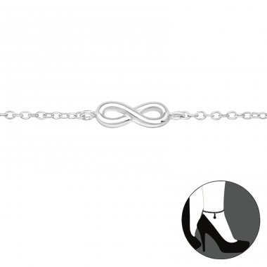Infinity - 925 Sterling Silver Anklets for foot A4S27906