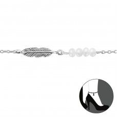 Feather - 925 Sterling Silver Anklets for foot A4S29961