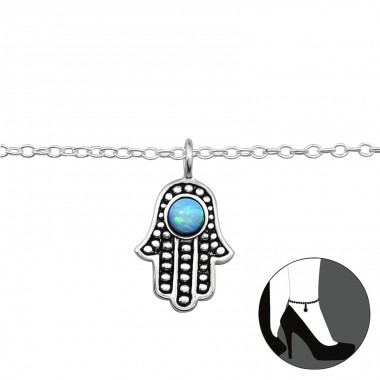 Hamsa Opal - 925 Sterling Silver Anklets for foot A4S29966