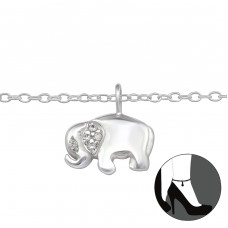 Elephant - 925 Sterling Silver Anklets for foot A4S29967
