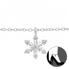 Snowflake - 925 Sterling Silver Anklets for foot A4S29969