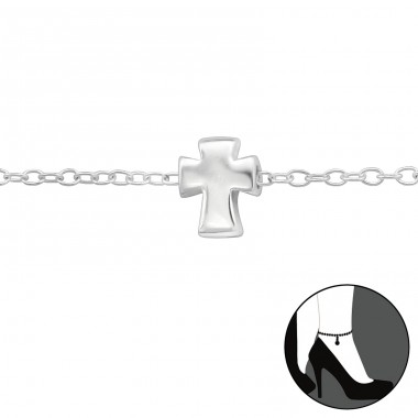 Cross - 925 Sterling Silver Anklets for foot A4S29974