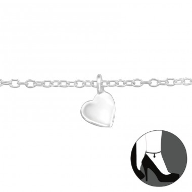 Heart - 925 Sterling Silver Anklets for foot A4S29975