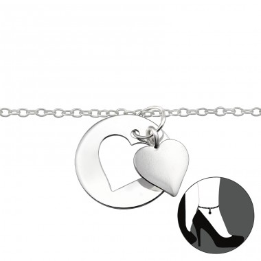 Heart - 925 Sterling Silver Anklets for foot A4S29977