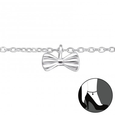 Bow - 925 Sterling Silver Anklets for foot A4S30319