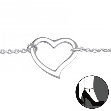 Heart - 925 Sterling Silver Anklets for foot A4S31055