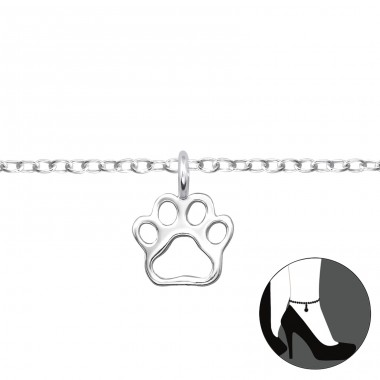Paw Print - 925 Sterling Silver Anklets for foot A4S31116
