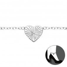 Heart - 925 Sterling Silver Anklets for foot A4S31118