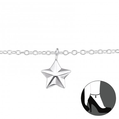 Star - 925 Sterling Silver Anklets for foot A4S31578