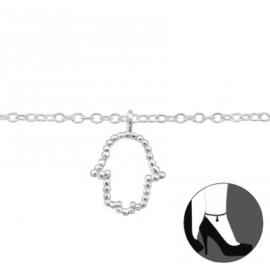 Hamsa - 925 Sterling Silver Anklets for foot A4S31579