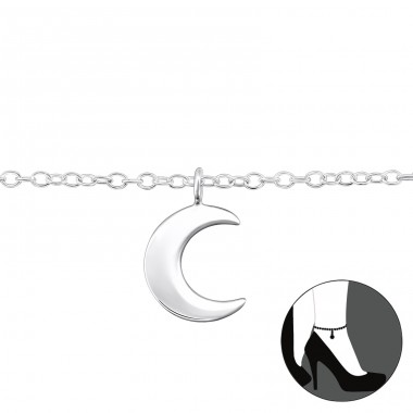 Moon - 925 Sterling Silver Anklets for foot A4S31580