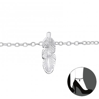 Leaf - 925 Sterling Silver Anklets for foot A4S33458