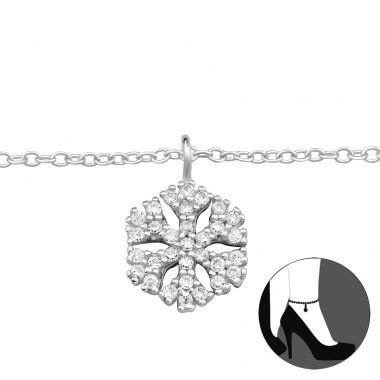Snowflake - 925 Sterling Silver Anklets for foot A4S33459