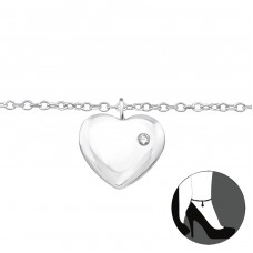 Heart - 925 Sterling Silver Anklets for foot A4S33460
