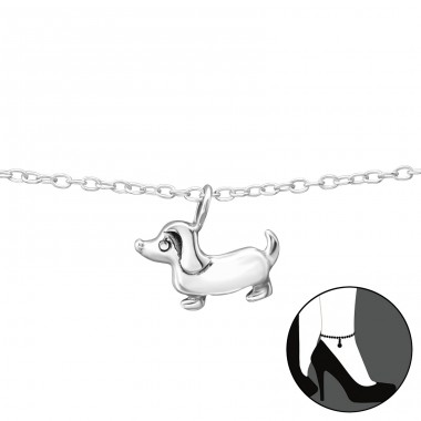 Dog - 925 Sterling Silver Anklets for foot A4S35071
