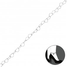 Heart Link Chain Anklet - 925 Sterling Silver Anklets for foot A4S35726